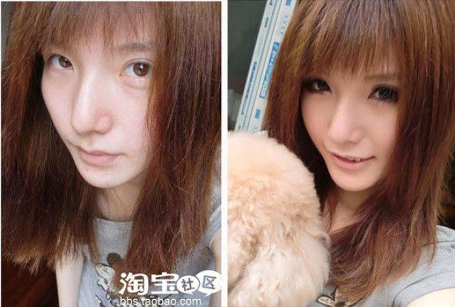 Mais antes e depois da maquiagem de garotas asiáticas 43