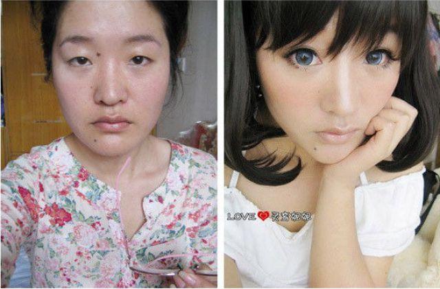 Mais antes e depois da maquiagem de garotas asiáticas 44