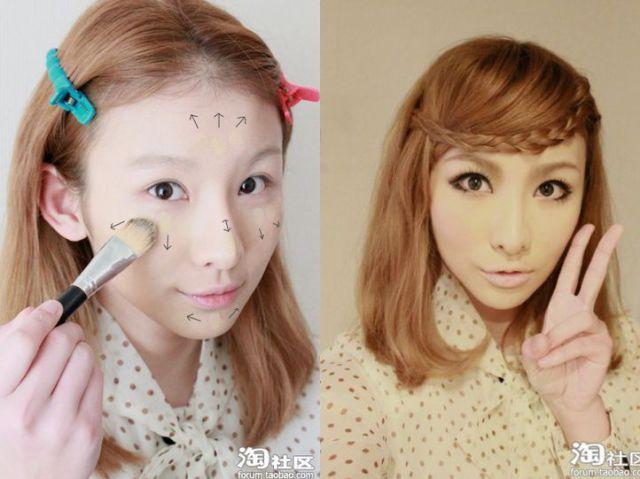 Mais antes e depois da maquiagem de garotas asiáticas 48