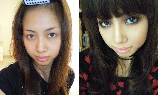 Mais antes e depois da maquiagem de garotas asiáticas 52