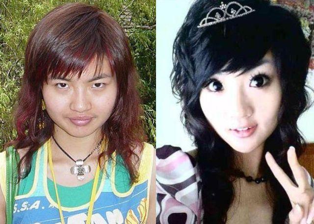 Mais antes e depois da maquiagem de garotas asiáticas 53