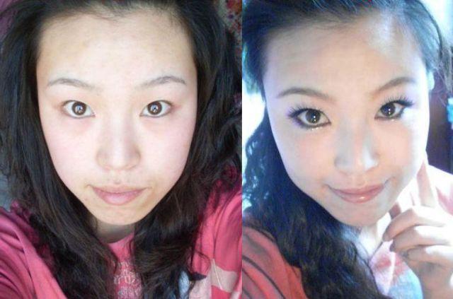 Mais antes e depois da maquiagem de garotas asiáticas 54