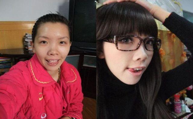 Mais antes e depois da maquiagem de garotas asiáticas 55