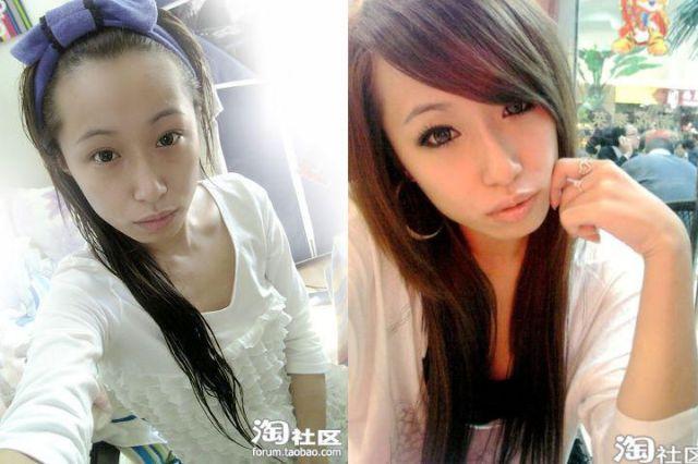 Mais antes e depois da maquiagem de garotas asiáticas 56