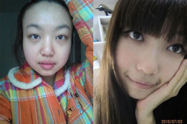 Mais antes e depois da maquiagem de garotas asiáticas 57