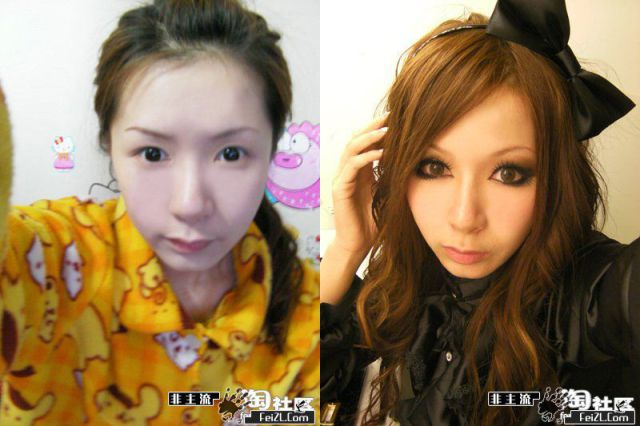 Mais antes e depois da maquiagem de garotas asiáticas 60
