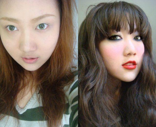 Mais antes e depois da maquiagem de garotas asiáticas 61