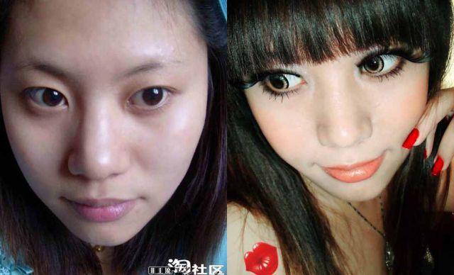 Mais antes e depois da maquiagem de garotas asiáticas 63