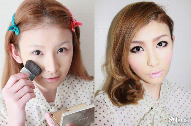Mais antes e depois da maquiagem de garotas asiáticas 64