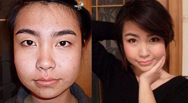 Mais antes e depois da maquiagem de garotas asiáticas 66