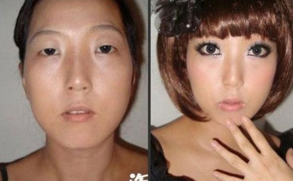 Mais antes e depois da maquiagem de garotas asiáticas 69