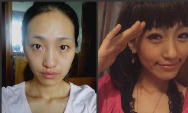 Mais antes e depois da maquiagem de garotas asiáticas 72