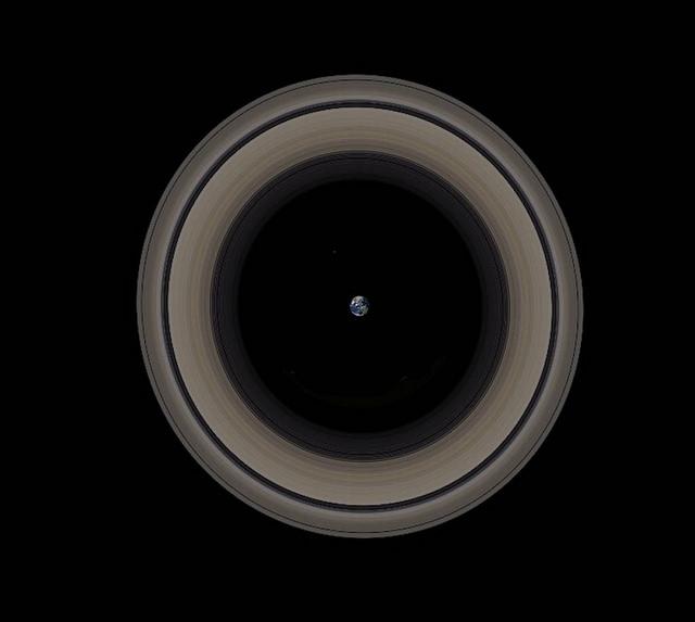 A Terra, em escala, dentro dos an�is de Saturno.