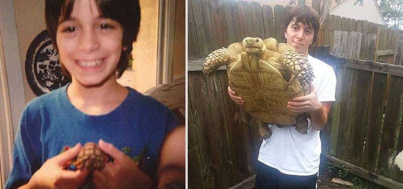 14 anos separam as duas fotos.