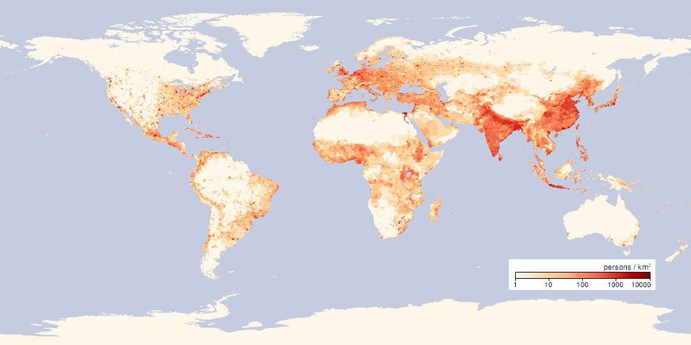 Densidade populacional ao redor do mundo.