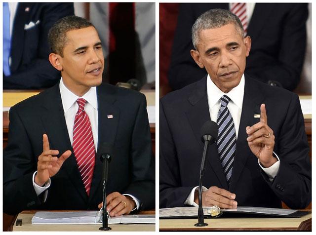 Envelheceu - Primeiro discurso depois de eleito versus o último.