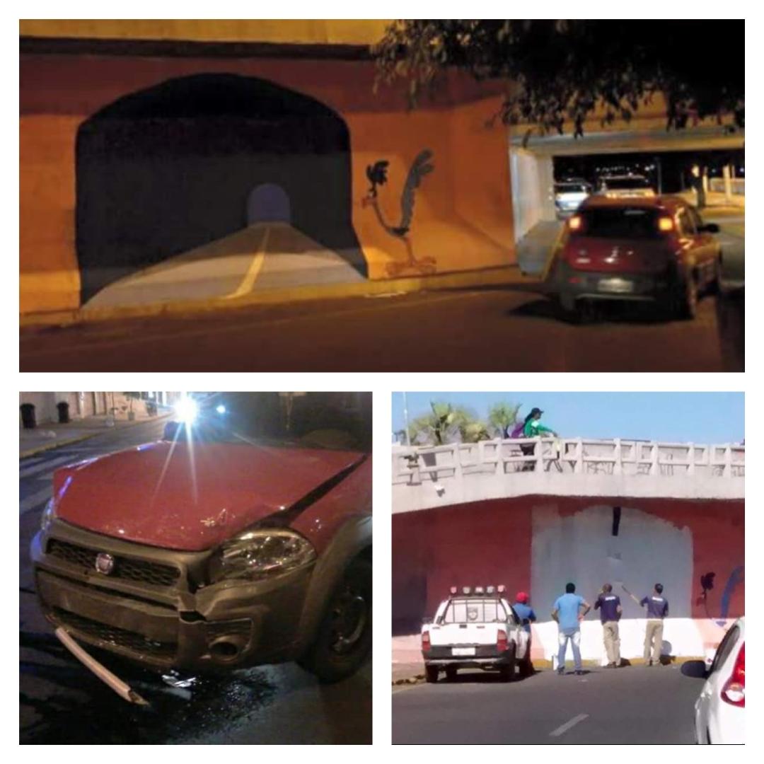 Bebum se acidente em túnel pintado no muro.