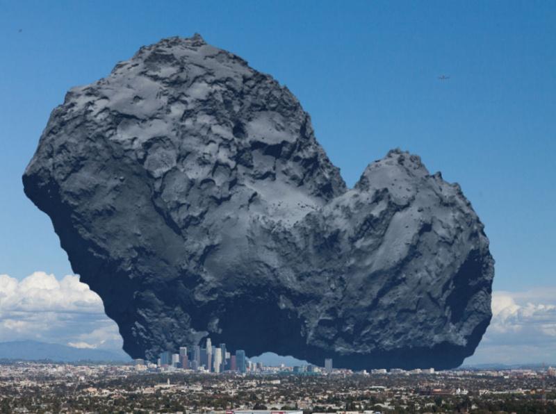 O tamanho do cometa 67P/Churyumov-Gerasimenko comparado com a cidade de Los Angeles