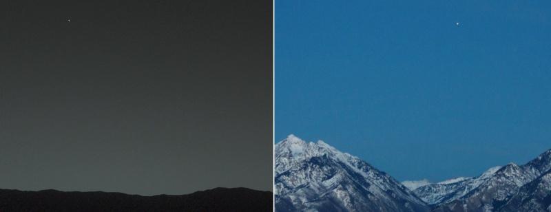 Como se vê a Terra desde Marte e Marte desde a Terra.