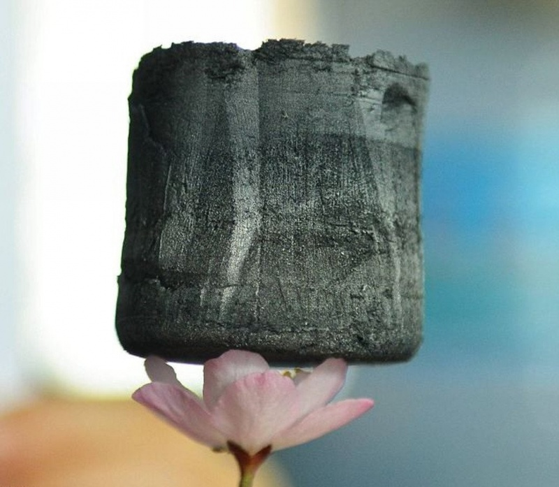Aerogel de grafeno, o material mais leve do mundo.