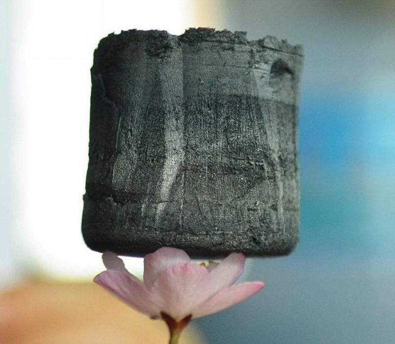Aerogel de grafeno, o material mais leve do mundo.