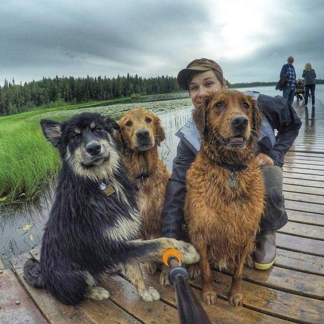 Selfie com os amigos.