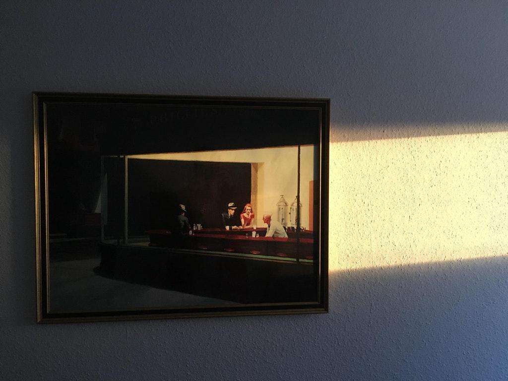 A forma como o sol ilumina este quadro.