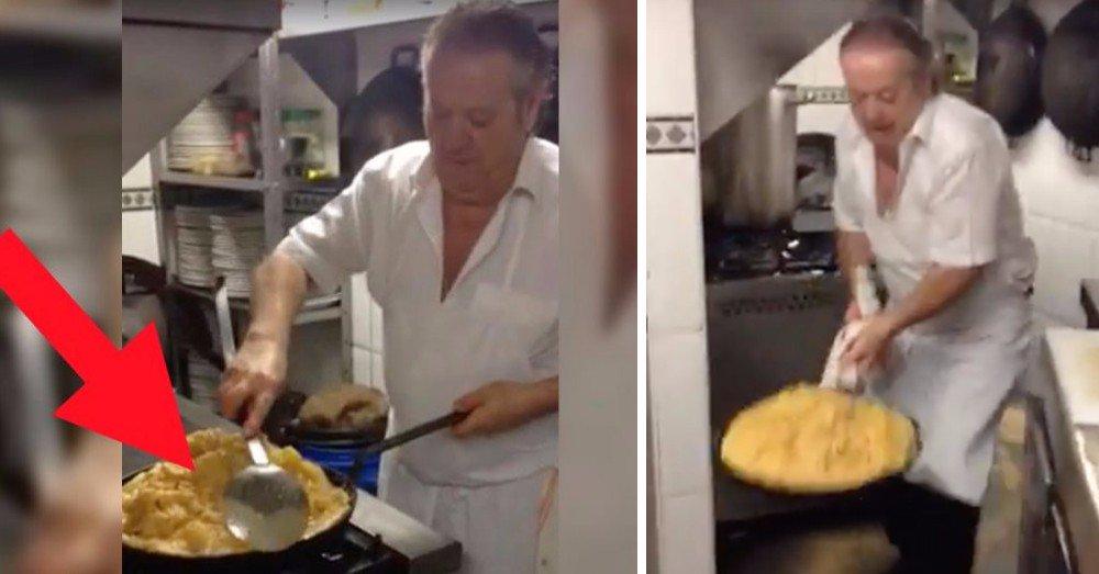 Veja como virar uma omelete de 57 ovos sem esparramá-la