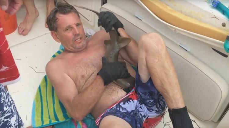 Pequeno tubarão morde um homem, que praticava snorkel, na barriga e não solta