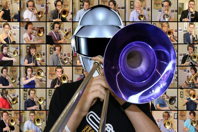 48 músicos tocam uma cover de 'Harder, Better, Faster, Stronger' com trombones
