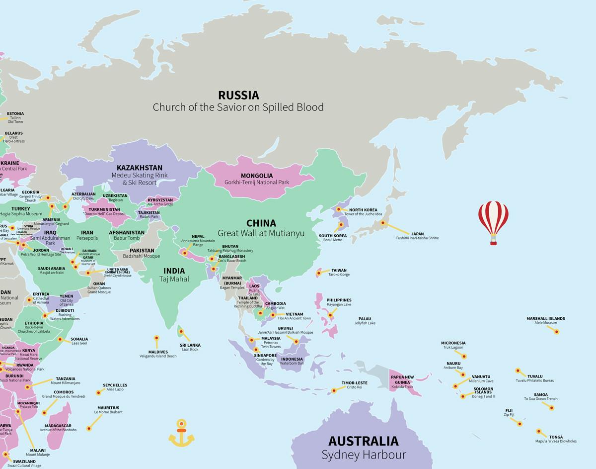 O mapa das melhores atrações turísticas de cada país do mundo segundo os usuários de TripAdvisor